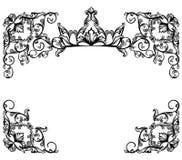 Capítulo con la corona real entre diseño floral del vector del adorno Foto de archivo libre de regalías