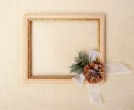 Capítulo con la rama del árbol de navidad Foto de archivo libre de regalías