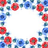 Cap?tulo con las flores rojas, azules y blancas de la an?mona Ilustraci?n de la acuarela fotos de archivo