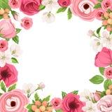 Capítulo con las flores rojas y rosadas Ilustración del vector stock de ilustración