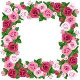 Capítulo con las rosas rojas y rosadas. stock de ilustración