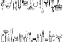 Capítulo con los materiales exhaustos del artista del vector del bosquejo de la mano en superior y en parte inferior Ejemplo esti libre illustration