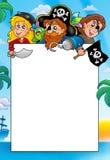 Capítulo con tres piratas de la historieta ilustración del vector