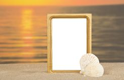 Capítulo, conchas de berberecho del mar en la arena Fotos de archivo libres de regalías