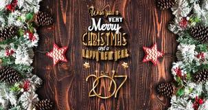 Capítulo de Año Nuevo 2017 con el pino verde, las chucherías coloridas y las estrellas Foto de archivo libre de regalías