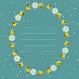 Capítulo de abejas y de flores en un círculo Lugar para el texto de líneas discontinuas Tarjeta de la turquesa Imagen del vector libre illustration