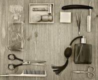 Capítulo de accesorios que afeitan retros Imágenes de archivo libres de regalías