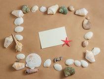 Capítulo de conchas marinas en fondo ligero con la tarjeta en blanco y las estrellas de mar Visión plana Fotos de archivo libres de regalías