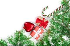 Capítulo de la Navidad de la rama de árbol de abeto con los bastones de caramelo y de la nieve aislada en el fondo blanco con el  Fotos de archivo