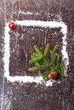 Capítulo de la nieve con un árbol de navidad y un topetón en un folleto nevoso del invierno del fondo de madera oscuro Imagenes de archivo