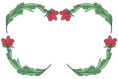 Capítulo de las hojas ornamentales del verde y de las flores rojas Fotografía de archivo