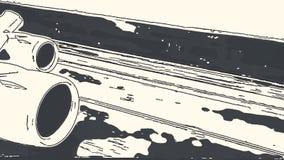 Capítulo de las turbinas de un aeroplano durante un despegue durante la puesta del sol Efecto del lápiz del dibujo libre illustration
