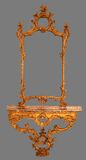 Capítulo de madera del espejo antiguo aislado Imágenes de archivo libres de regalías