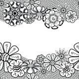Capítulo de Zentangle con la flor en garabato Mano drenada Fotografía de archivo libre de regalías