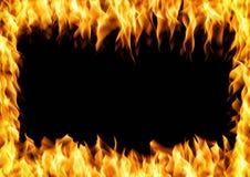Capítulo del fuego ardiente Llama con humo sobre fondo negro stock de ilustración