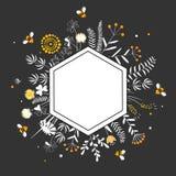 Capítulo elegante del hexágono con las flores y las abejas lindas de la miel Calidad superior Honey Label Vector de la historieta libre illustration