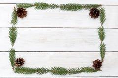 Capítulo en la forma de un rectángulo de ramitas de un árbol de navidad o fotografía de archivo libre de regalías