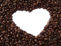 Capítulo en la forma del corazón de los granos de café Foto de archivo libre de regalías