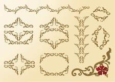 Capítulo floral de los ornamentos de los elementos rococó Imagenes de archivo