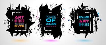 Capítulo futurista Art Design con formas y descensos abstractos de colores detrás del espacio Imagenes de archivo