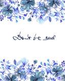 Capítulo la frontera, la plantilla para la postal con las flores azul marino y las ramas con las hojas azules pintadas en acuarel libre illustration