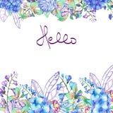 Capítulo la frontera, plantilla para la postal con las flores púrpuras y azules de la hortensia libre illustration