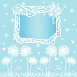 Capítulo los diseños de tarjeta en vector del dibujo de la carta blanca en fondo azul claro Fotos de archivo libres de regalías