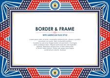 Capítulo patriótico, con estilo de la bandera americana y diseño del color libre illustration