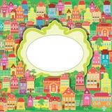 Capítulo y casas coloridas decorativas en baskground Imagenes de archivo