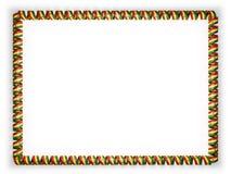 Capítulo y frontera de la cinta con la bandera de Ghana, afilando de la cuerda de oro ilustración 3D Imagenes de archivo