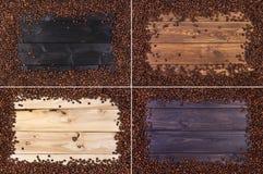 4 capítulos de los granos de café en la tabla de madera, visión superior con el espacio de la copia fotos de archivo libres de regalías