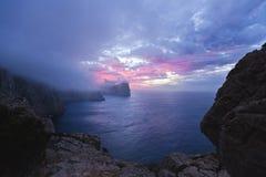 Cap在日落的de Formentor -巴利阿里群岛马略卡-西班牙 免版税库存图片