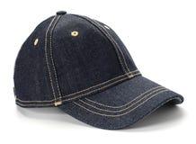 Cap. Dark blue jeans cap on white Royalty Free Stock Photos