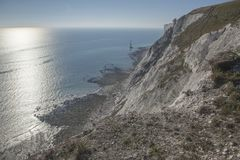 Cap Bévésiers, East Sussex - cieux bleus, eaux et falaises blanches photo libre de droits