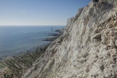 Cap Bévésiers, East Sussex - falaises blanches un jour ensoleillé image stock