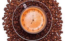 The cap of black coffee standing on grains Stock Photos