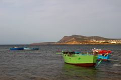 Fishing Boats in Cap Bon, Tunisia. Cap Bon is fertile and picturesque region of farms, vineyards, citrus groves, and is home to some of the most popular beach royalty free stock images