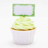 Cap Cake with a sign board stock photography