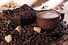 Cap of coffee. With beans and brown sugar Stock Photo