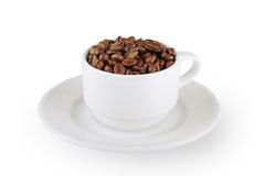 Cap of coffee beans. On white Royalty Free Stock Image