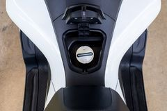 Cap cover oil or petrol tank on a modern motorcycle. Cap cover oil or petrol tank on a new modern motorcycle royalty free stock photos