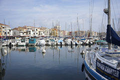 Cap d'Agde. France - October 07, 2014:  is one of the largest leisure ports on the French Mediterranean. Development as a tourist resort started in the 1970s royalty free stock photos