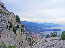 Cap d`Ail Alpes-Maritimes, Provence-Alpes-Cote d`Azur, France: the coast at summer / tete de chien. Cap d`Ail Alpes-Maritimes, Provence-Alpes-Cote d`Azur, France Royalty Free Stock Image