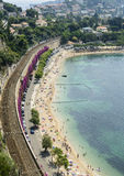 Cap d'Ail (Cote d'Azur). Cap d'Ail (Alpes-Maritimes, Provence-Alpes-Cote d'Azur, France): the beach at summer Royalty Free Stock Photos