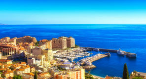 Cap d`Ail port and Fontvieille Stock Photo