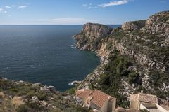 Cap d`Or tower and mediterranean sea Stock Image