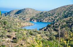 Cap de Creus半岛,卡塔龙尼亚,西班牙海角  免版税库存图片