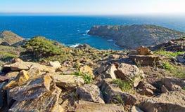 Cap de Creus半岛,卡塔龙尼亚,西班牙海角  免版税库存照片