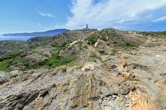 Cap de Creus. Rocky coast at Cap de Creus Costa Brava, Catalonia, Spain stock image