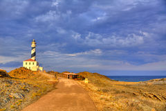 Cap de Favaritx sunset lighthouse cape in Mahon Royalty Free Stock Photography